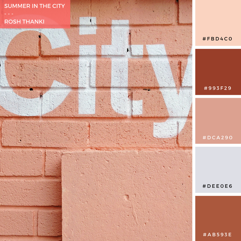 Colour Palette for Summer in the City by Rosh Thanki, typography painted onto a wall at Pergola on the Roof