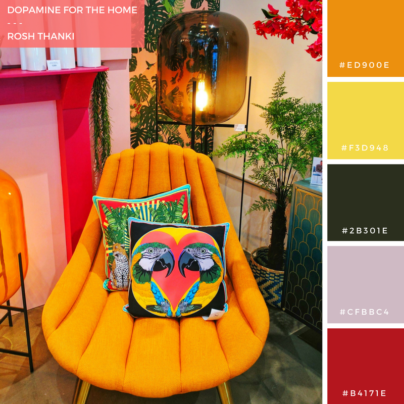 Colour Palette for Dopamine for the Home by Rosh Thanki, W A Green London, interior design shop