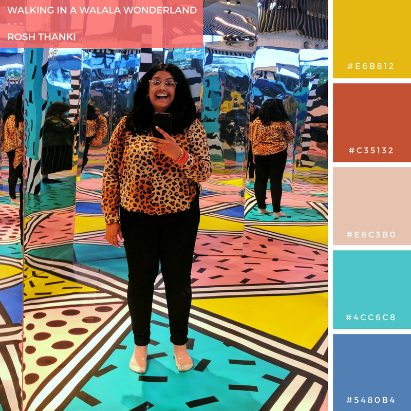 Colour Palette for Walking in a Walala Wonderland by Rosh Thanki, Camille Walala Play installation at Now Gallery