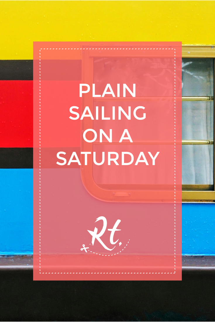 Plain Sailing on a Saturday by Rosh Thanki, colourful house boat at Camden canalside