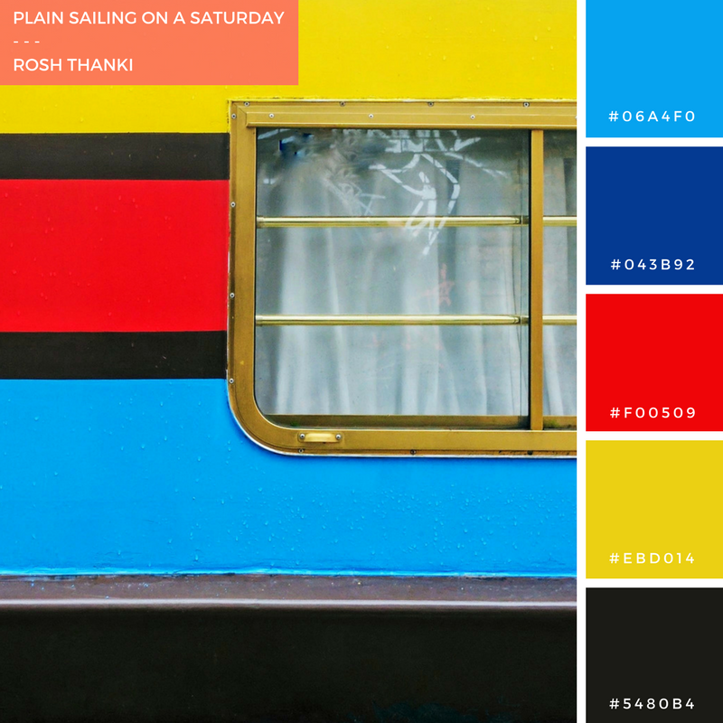 Colour Palette for Plain Sailing on a Saturday by Rosh Thanki, colourful house boat at Camden canalside