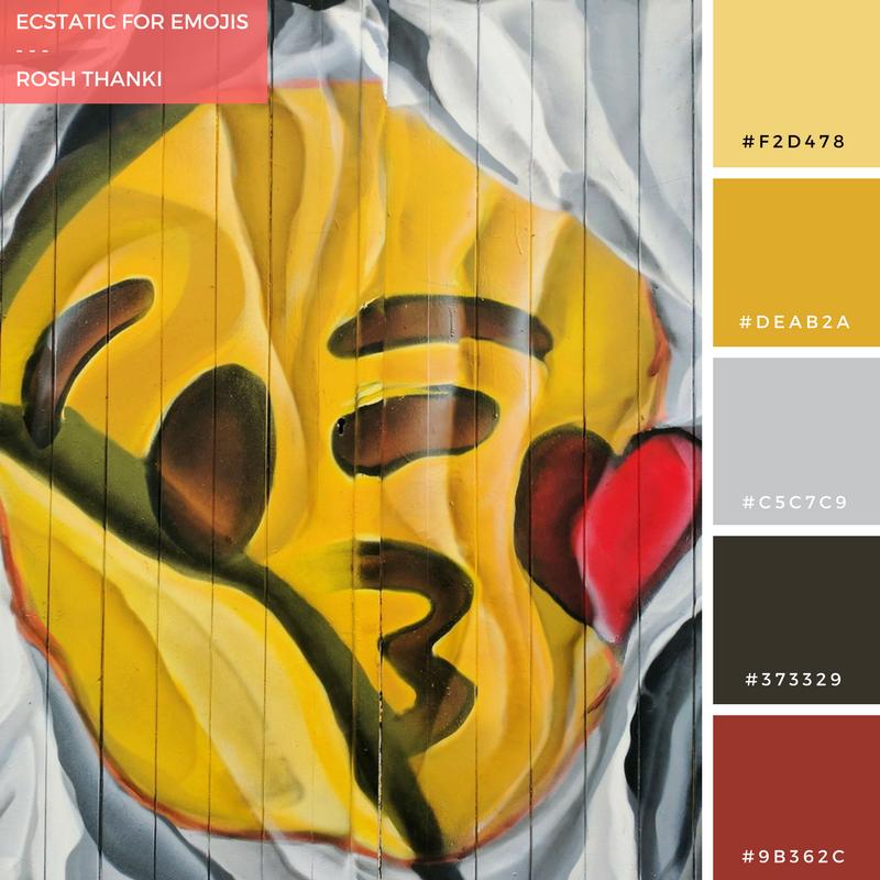Colour Palette for Ecstatic for Emojis by Rosh Thanki, Airborne Mark emoji street art in Camden