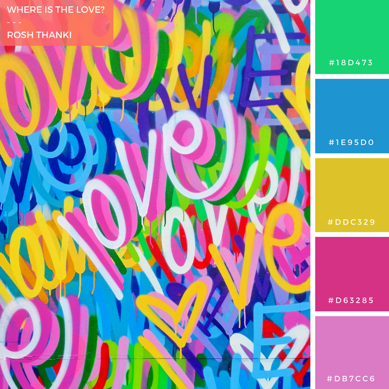 Colour Palette for Where is the Love? by Rosh Thanki, Chris Riggs love mural at Ladbroke Grove, street art