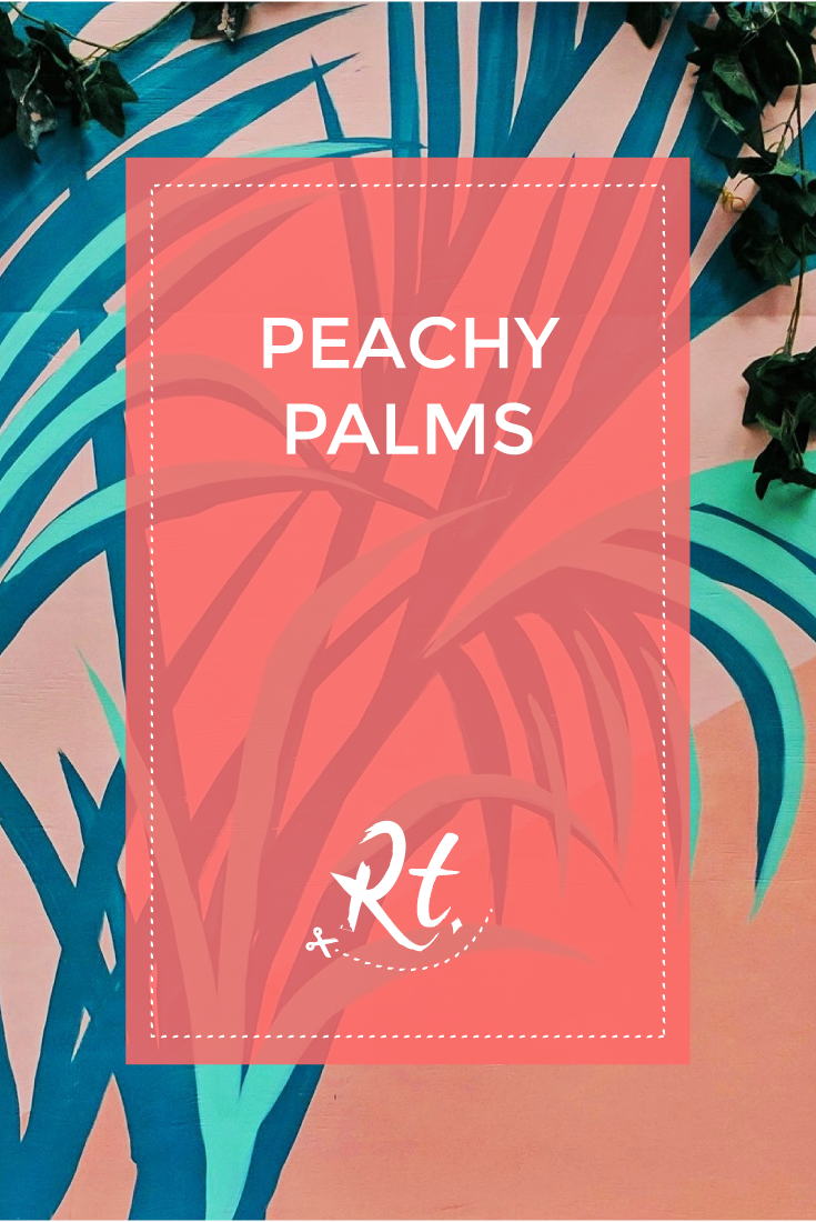 Peachy Palms by Rosh Thanki, Josephine Hicks' palm tree mural at the Pergola on the roof