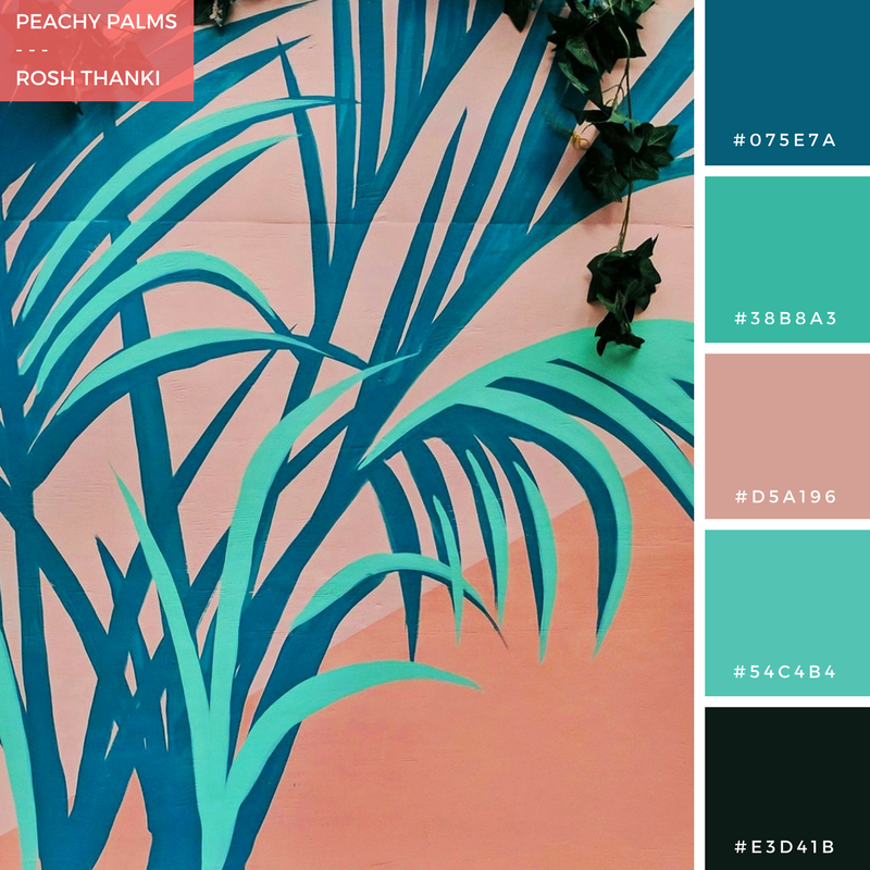Colour Pallette for Peachy Palms by Rosh Thanki, Josephine Hicks' palm tree mural at the Pergola on the roof