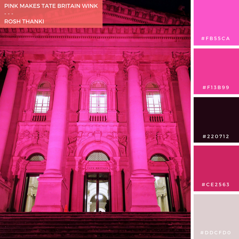 Colour Palette for Pink Makes Tate Britain Wink by Rosh Thanki, Tate Britain at night