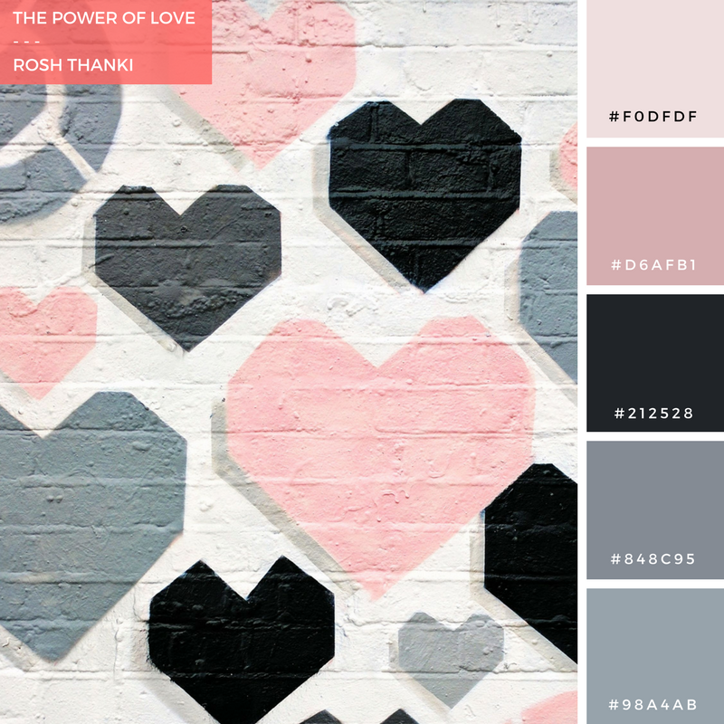 Colour Palette for The Power of Love, by Rosh Thanki, liketoknow it hearts wall in shoreditch