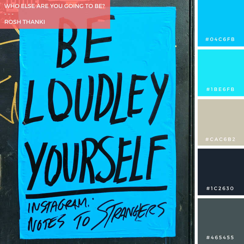 Colour Palette for Who Else Are You Gonna Be? by Rosh Thanki, Notes to Strangers poster in Camden
