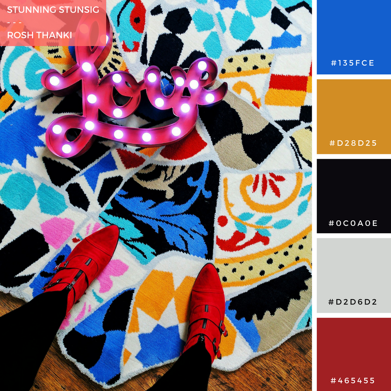 Colour Palette for Stunning STUNSIG by Rosh Thanki, mismatched tile Team Hawaii rug from IKEA