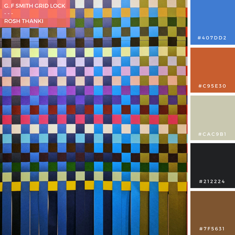 Colour Palette for G. F Smith Grid Lock by Rosh Thanki, Made Thought interweaving paper tapestry from Color Plan Papers