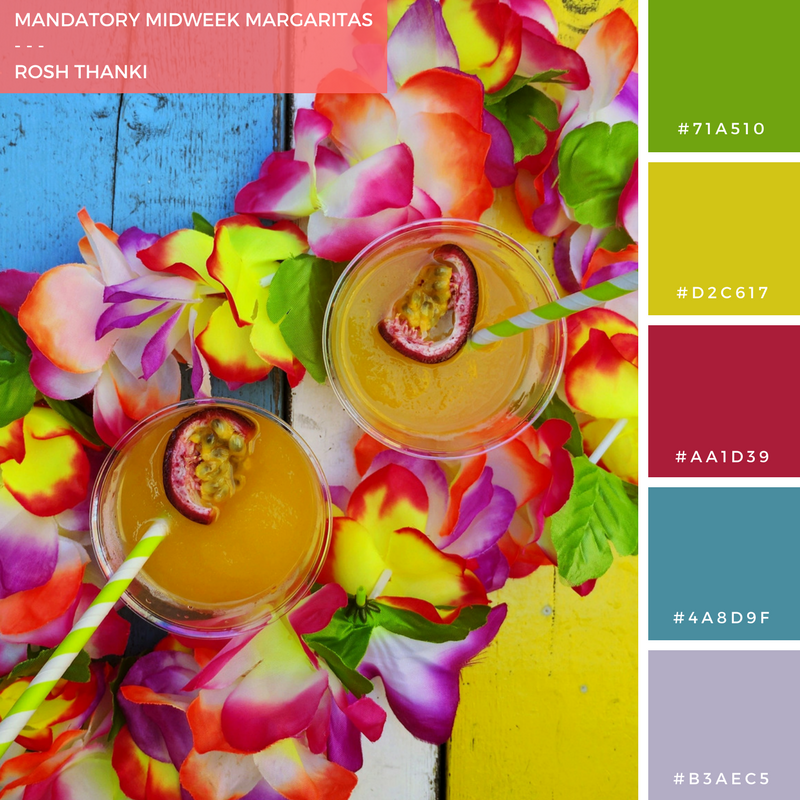 Colour Palette for Mandatory Midweek Margaritas by Rosh Thanki, cocktails at Barrio bars in Shoreditch
