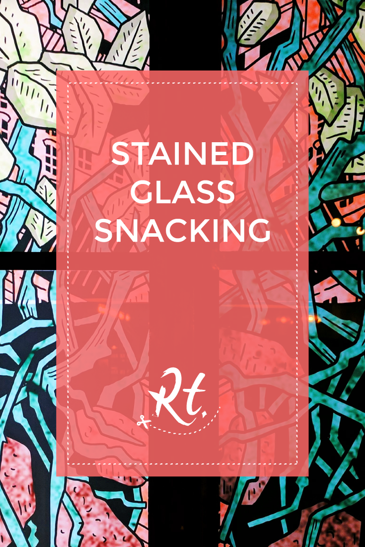 Stained Glass Snacking by Rosh Thanki, Studio Murugiah's stained glass mural at Hip Chips in Soho