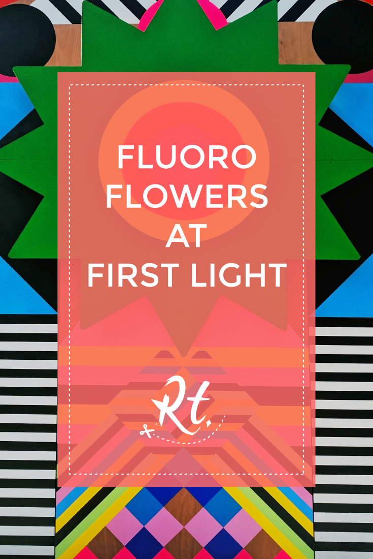 Fluoro Flowers at First Light by Rosh Thanki, Morag Myerscough's joy and peace patterned pavilion