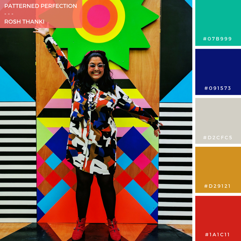 Colour Palette for Patterned Perfection by Rosh Thanki, Monki shirt dress in front of Morag Myerscough's joy and peace pavilion