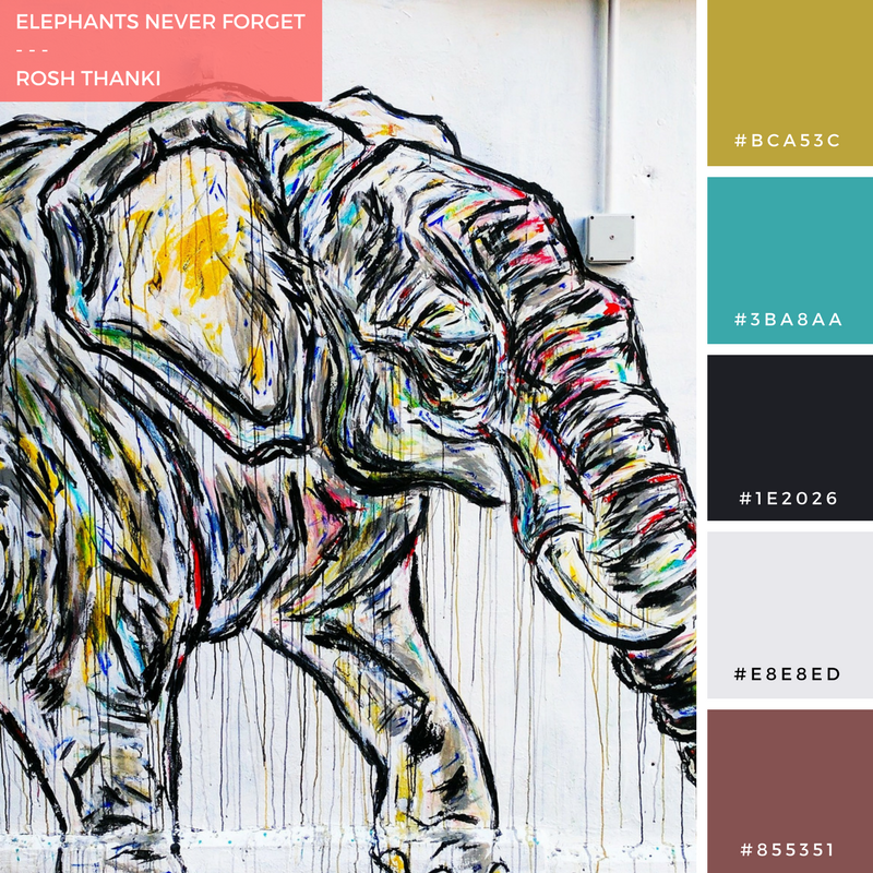 Colour Palette for Elephants Never Forget by Rosh Thanki, elephant street art by the roaming elephant in Camden Town
