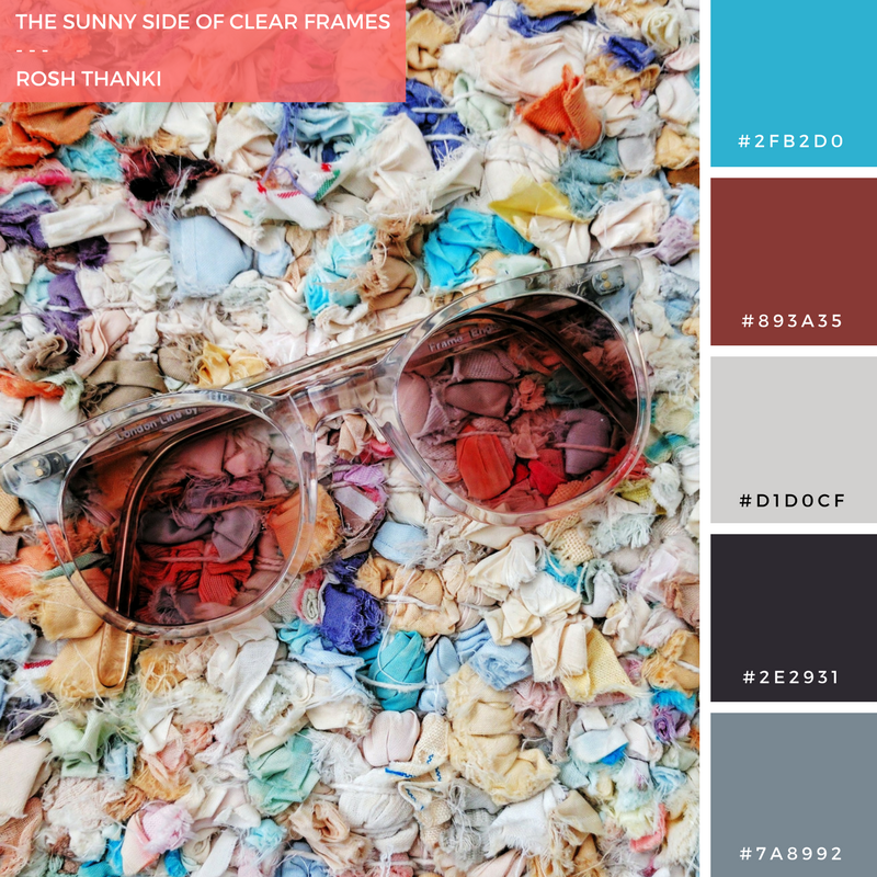 Colour Palette for The Sunny Side of Clear Frames by Rosh Thanki, general eyewear glasses and zara home rug