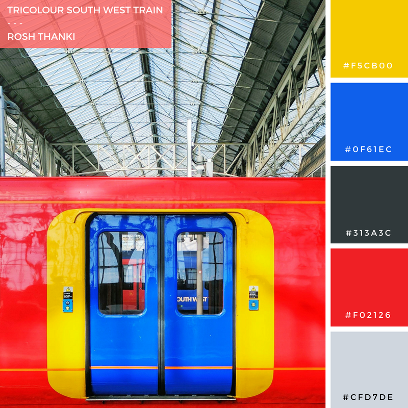 Colour Palette for Tricolour South West Train, at Waterloo Station