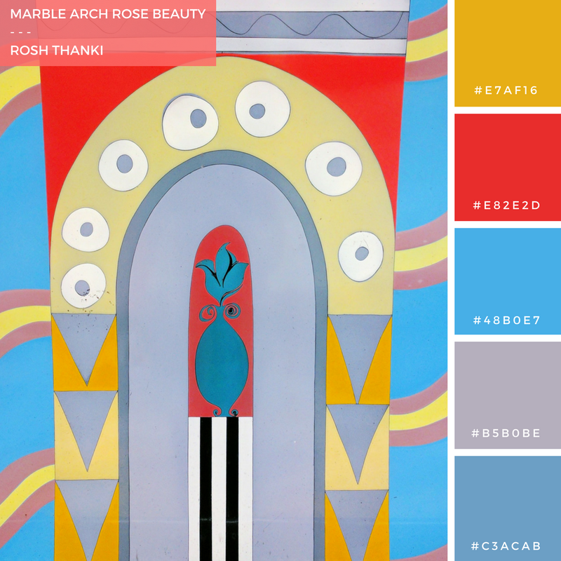 Colour Palette for March Arch Rose Beauty by Rosh Thanki, rose mural at march arch tube station