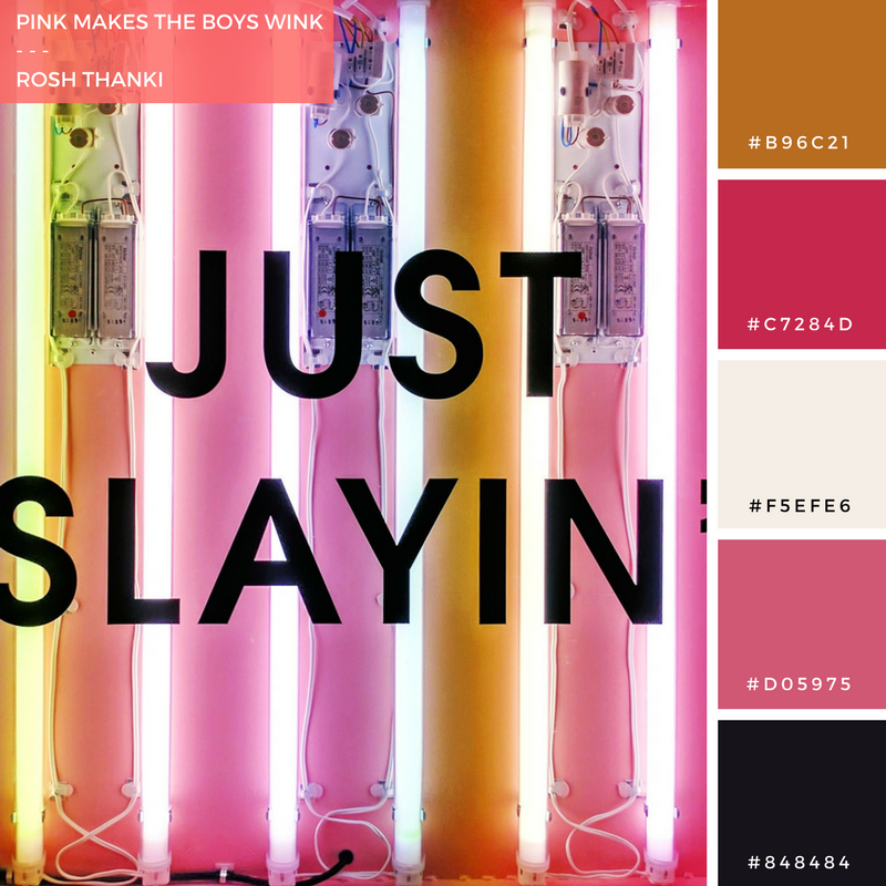 Colour Palette for Pink Makes the Boys Wink by Rosh Thanki, missguided's just slayin' neon sign