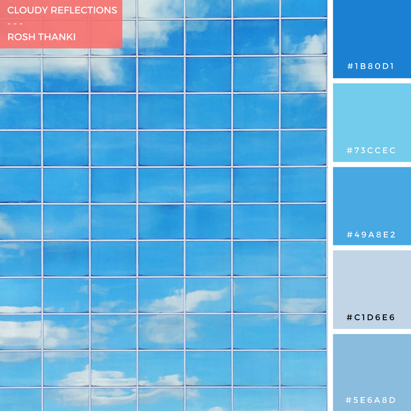 Colour Palette for Cloudy Reflections by Rosh Thanki, clouds reflected on buildings at Milton Keynes Train Station