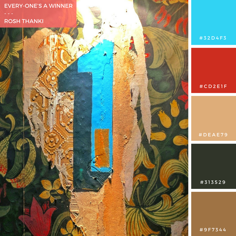 Colour Palette for Every-One's a Winner by Rosh Thanki, William Morris style wallpaper at Flight club