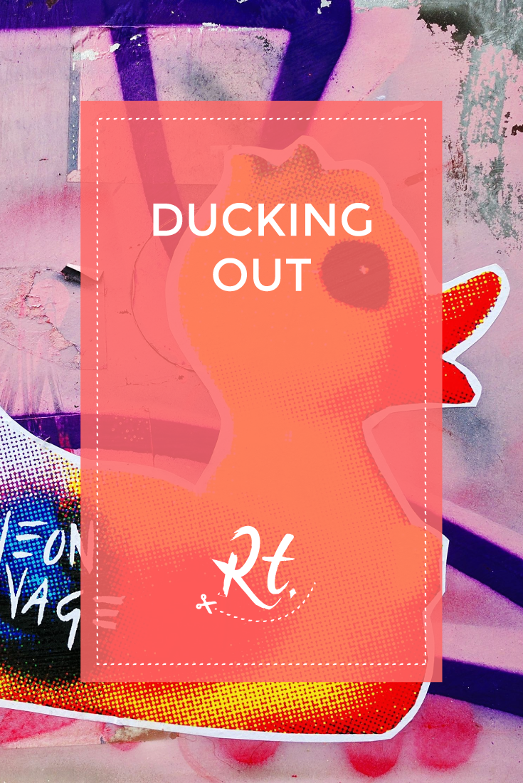 Ducking Out by Rosh Thanki, Neon Savage duck sticker in Shoreditch