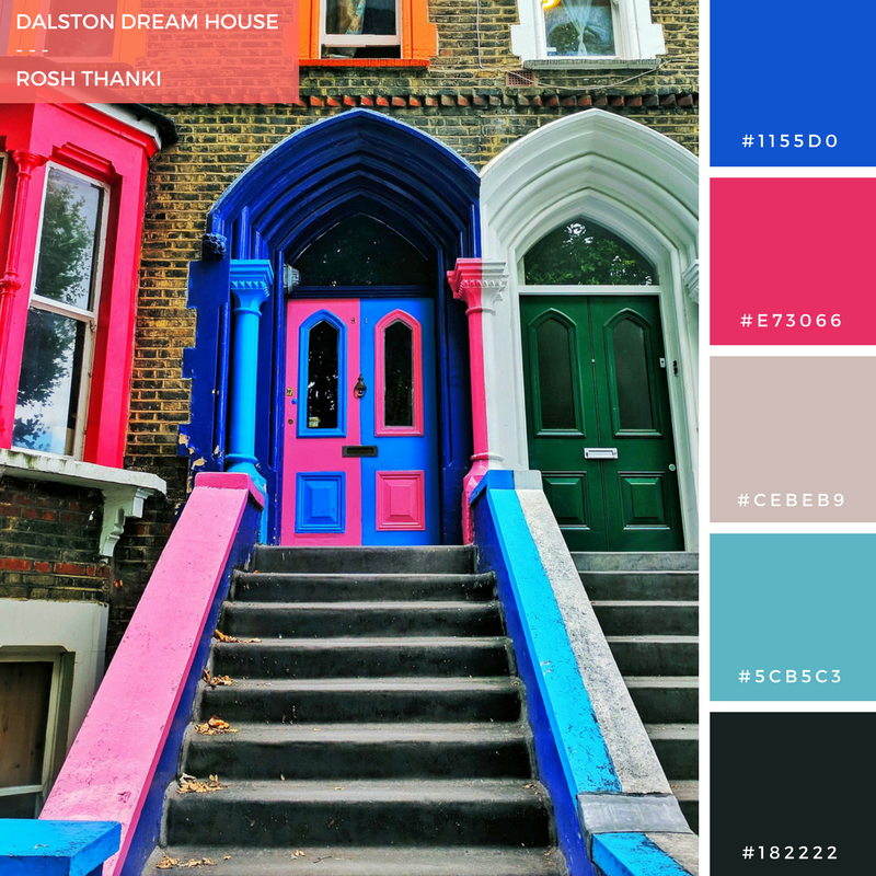 Colour Palette for Dalston Dream House by Rosh Thanki, pink and blue door in Dalston