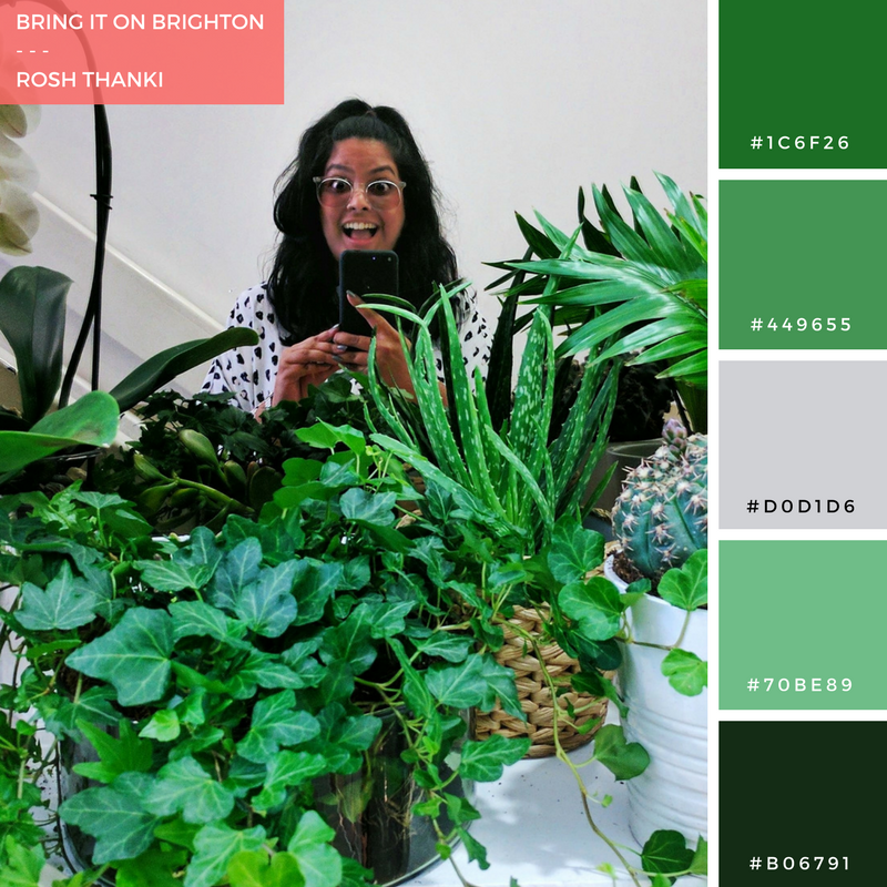 Colour Palette for Bring It On Brighton by Rosh Thanki, selfie surrounded by plants at Noho Studios