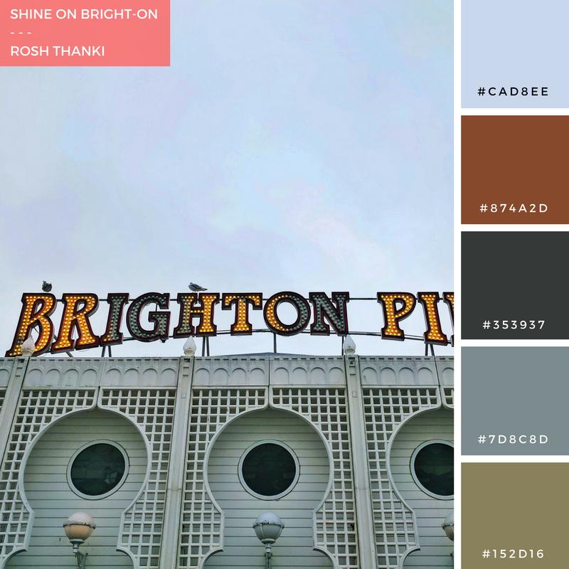 Colour Palette for Shine On Bright-On! By Rosh Thanki, Brighton Pier light bulb lettering sign