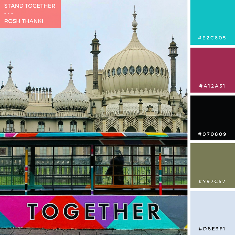 Stand Together by Rosh Thanki, Art and Believe's colourful bus shelter in front of Brighton's royal pavilion