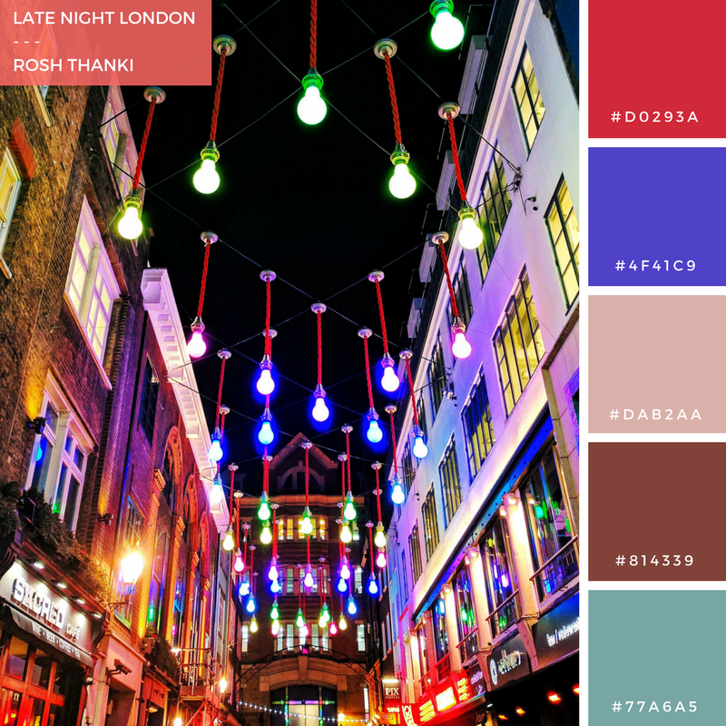 Colour Palette for Late Night London by Rosh Thanki, ganton street lights at carnaby street