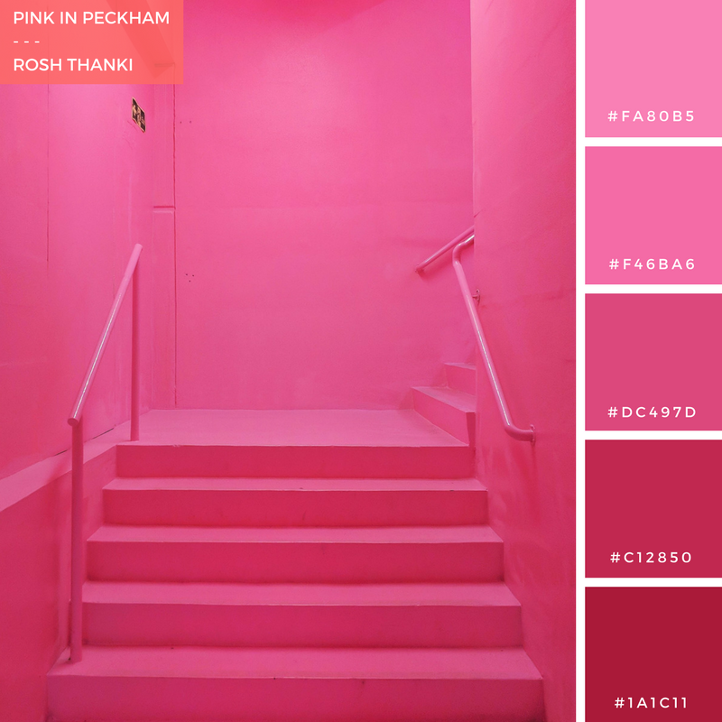 Colour Palette for Pink in Peckham by Rosh Thanki, pink staircase at Frank's cafe rooftop bar in peckham