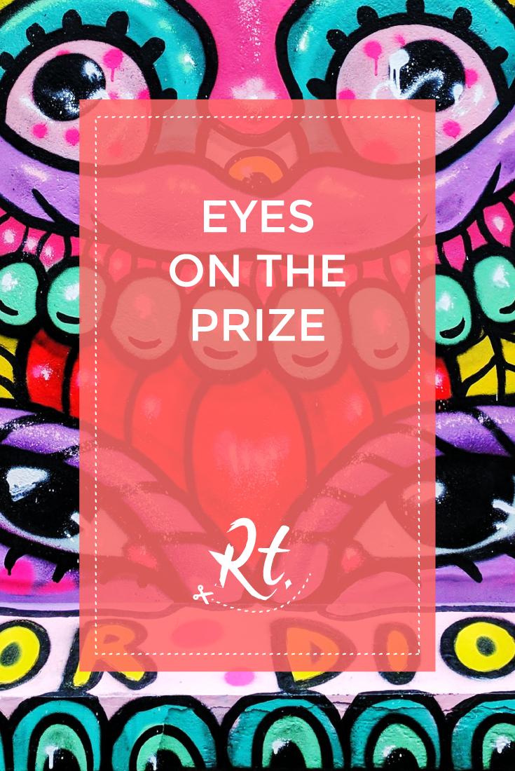 Eyes on the Prize by Rosh Thanki, Amara Por Dios street art in Brick Lane