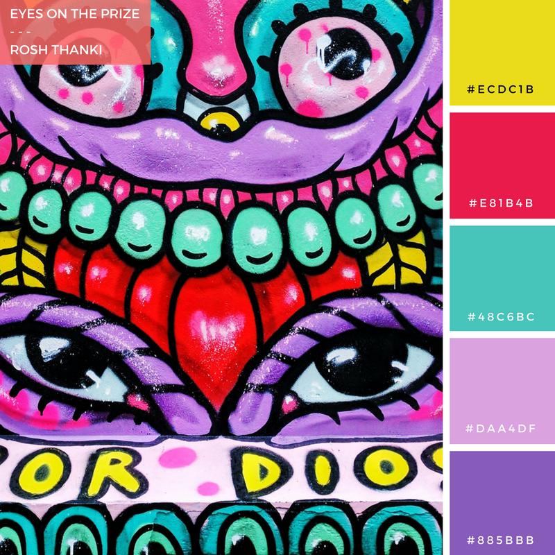 Colour Palette for Eyes on the Prize by Rosh Thanki, Amara Por Dios street art in Brick Lane