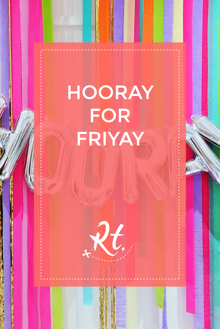 Hooray for FriYAY by Rosh Thanki, giant silver balloons at peach blossom party shop in brighton