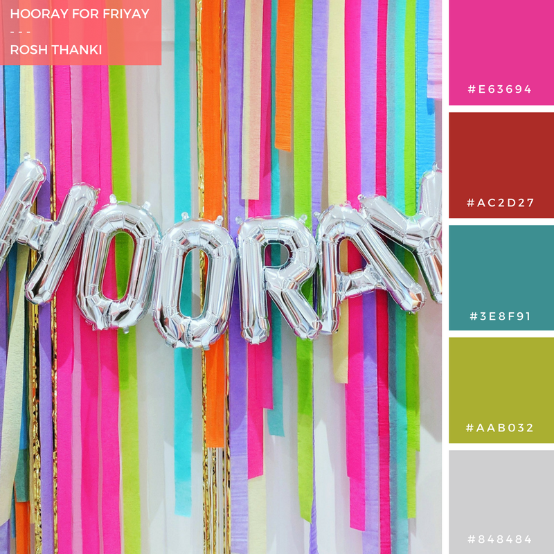Colour Palette for Hooray for FriYAY by Rosh Thanki, giant silver balloons at peach blossom party shop in brighton