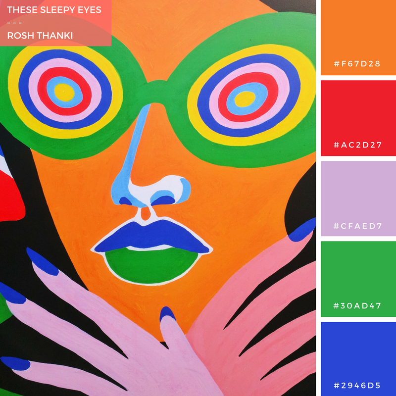 Colour Palette for These Sleepy Eyes by Rosh Thanki, Lynnie Z illustration exhibition at Boxpark Shoreditch
