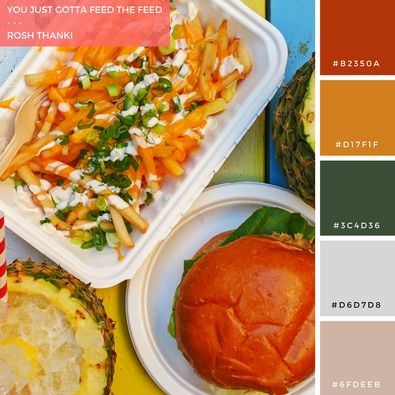 Colour Palette for You Just Gotta Feed the Feed by Rosh Thanki, Barrio Bars Shoreditch food flat lay, cheesy fries, pineapple pina colada