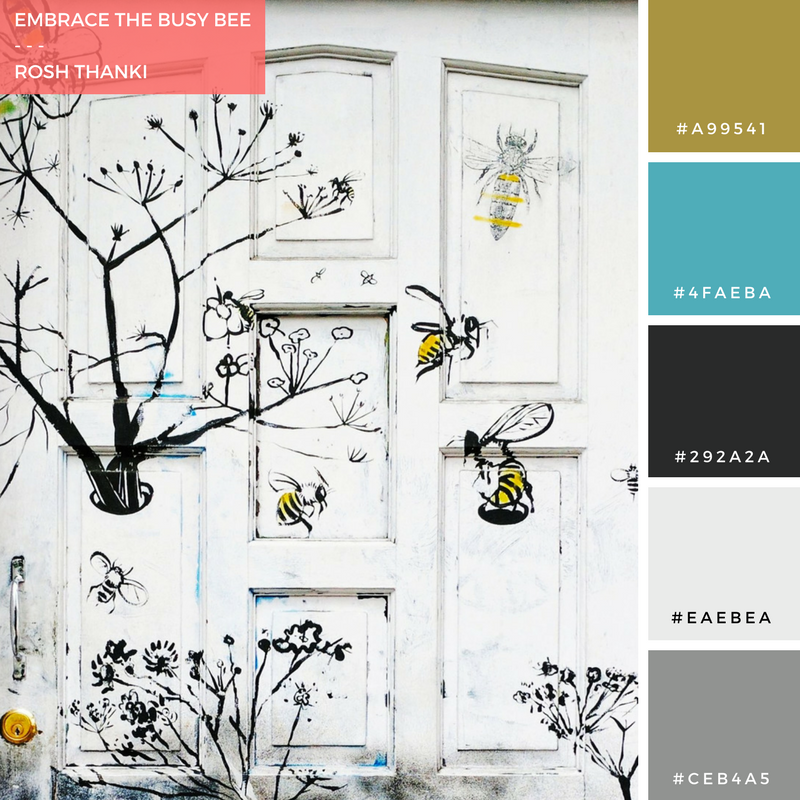 Colour Palette for Embrace the Busy Bee by Rosh Thanki, clapham bee and wasp door
