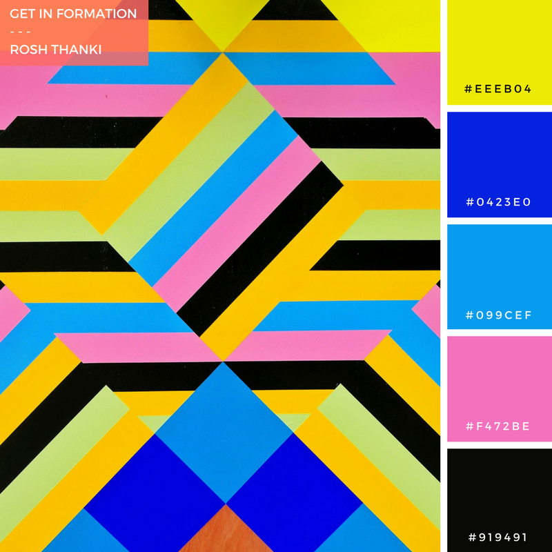 Colour Palette for Get in Formation by Rosh Thanki, Morag Myerscough joy and peace pavilion, pattern close-up
