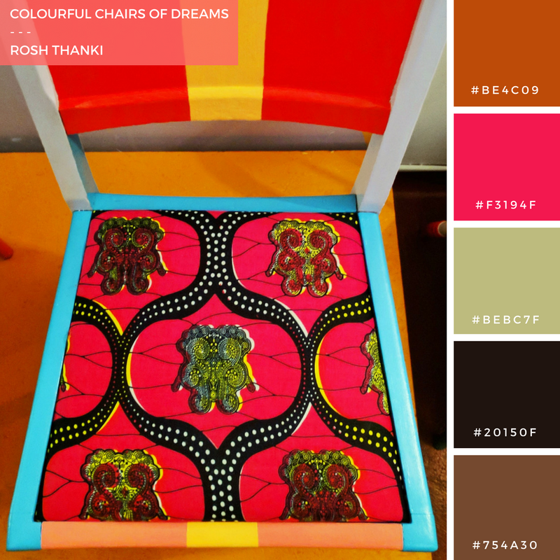 Colour Palette for Colourful Chairs of Dreams by Rosh Thanki, restoration station collaboration with Yinka Ilori