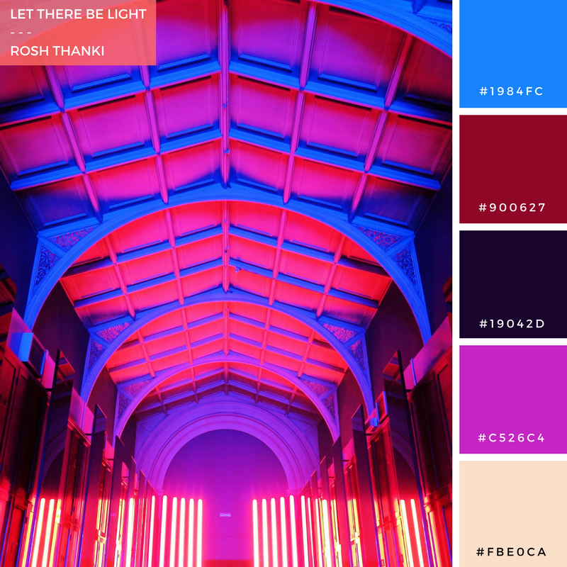 Colour Palette for Let There Be Light by Rosh Thanki, Reflection Room installation at the Victoria and Albert Museum by Flynn Talbot for London Design Festival