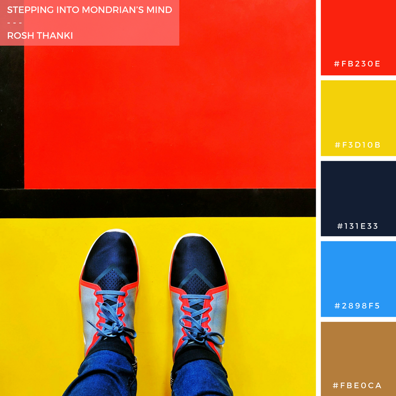 Colour Palette for Stepping into Mondrian's Mind by Rosh Thanki, Open House London, Mondrian floor, from where I stand