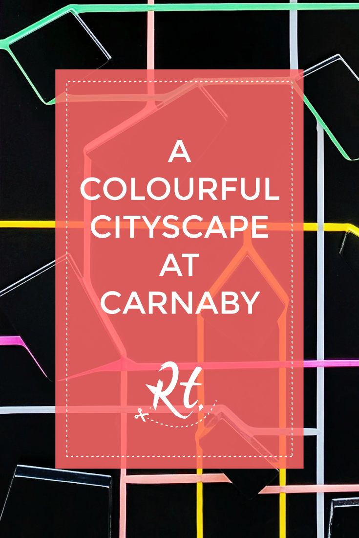 A Colourful Cityscape at Carnaby by Rosh Thanki, Olly Fathers installations store front for We Built This City, London Design Festival