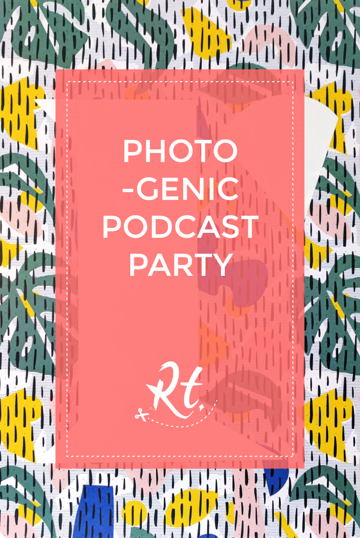 Photogenic Podcast Party by Rosh Thanki, Lizzie Evans for Smug podcast launch party, R typography