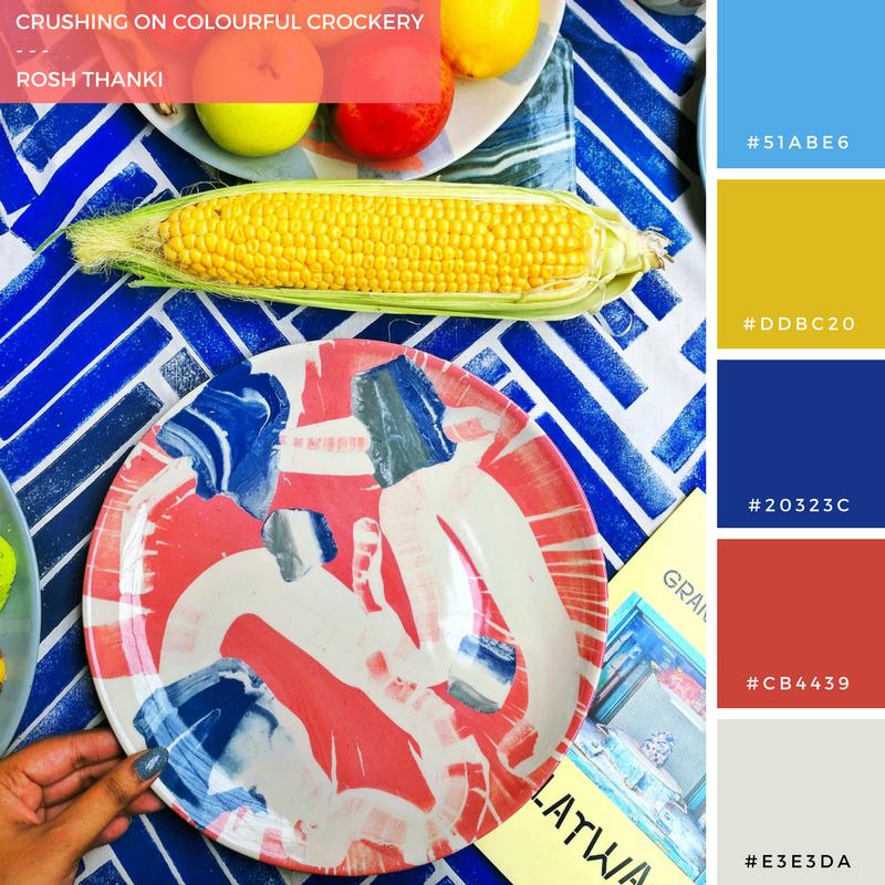 Colour Palette for Crushing on Colourful Crockery by Rosh Thanki, Granby Workshop splatware crockery range