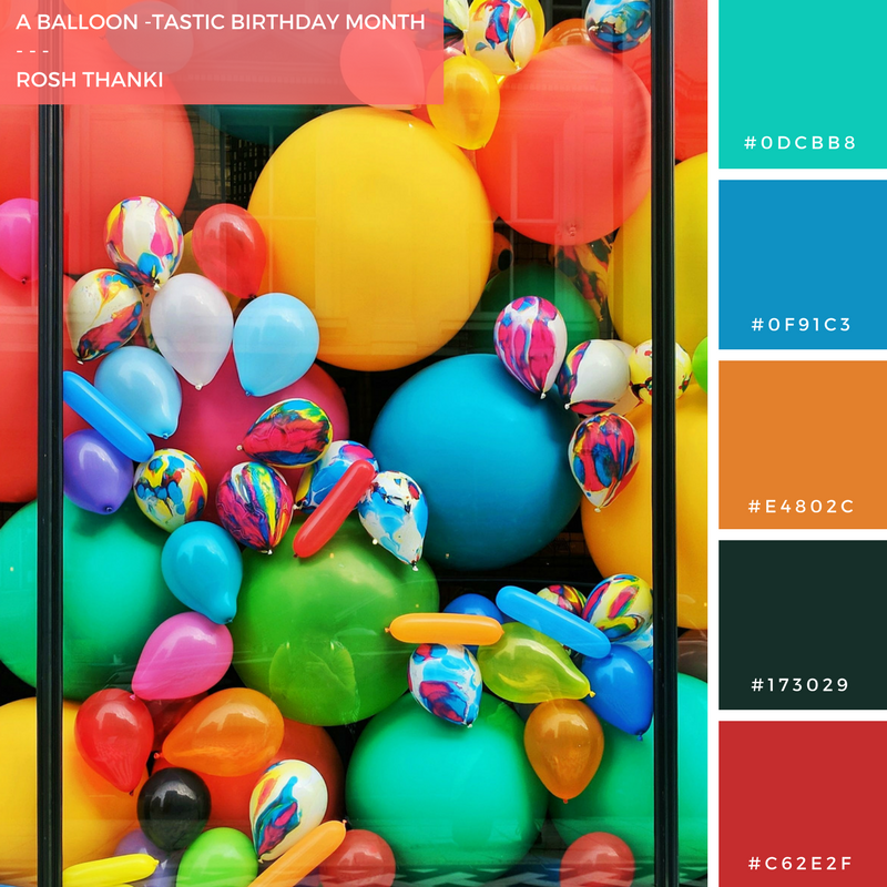 Colour Palette for A Balloon-tastic Birthday Month by Rosh Thanki, balloon window display at the squire and partners building in brixton