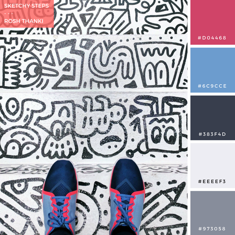 Colour Palette for Sketchy Steps by Rosh Thanki, Mr Doodle's scribbled stairs at We Built This City