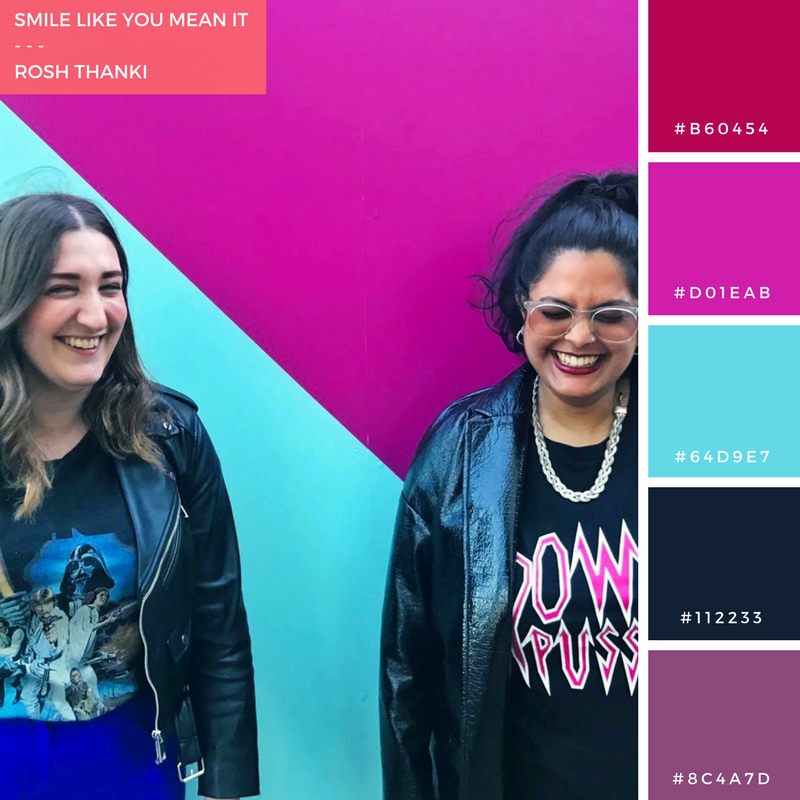 Colour Palette for Smile Like You Mean It by Rosh Thanki, Natasha Nuttall and I at King's Cross with Monki T-Shirt