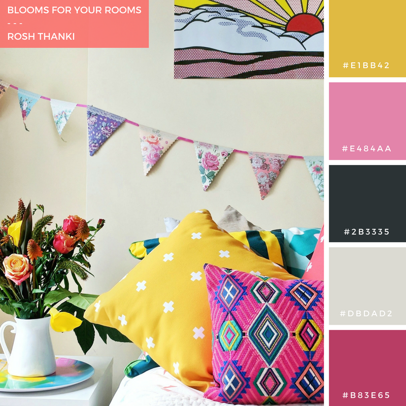 Colour Palette for Blooms for Your Rooms by Rosh Thanki, patterns in the bedroom and a bloom and wild bouquet of flowers